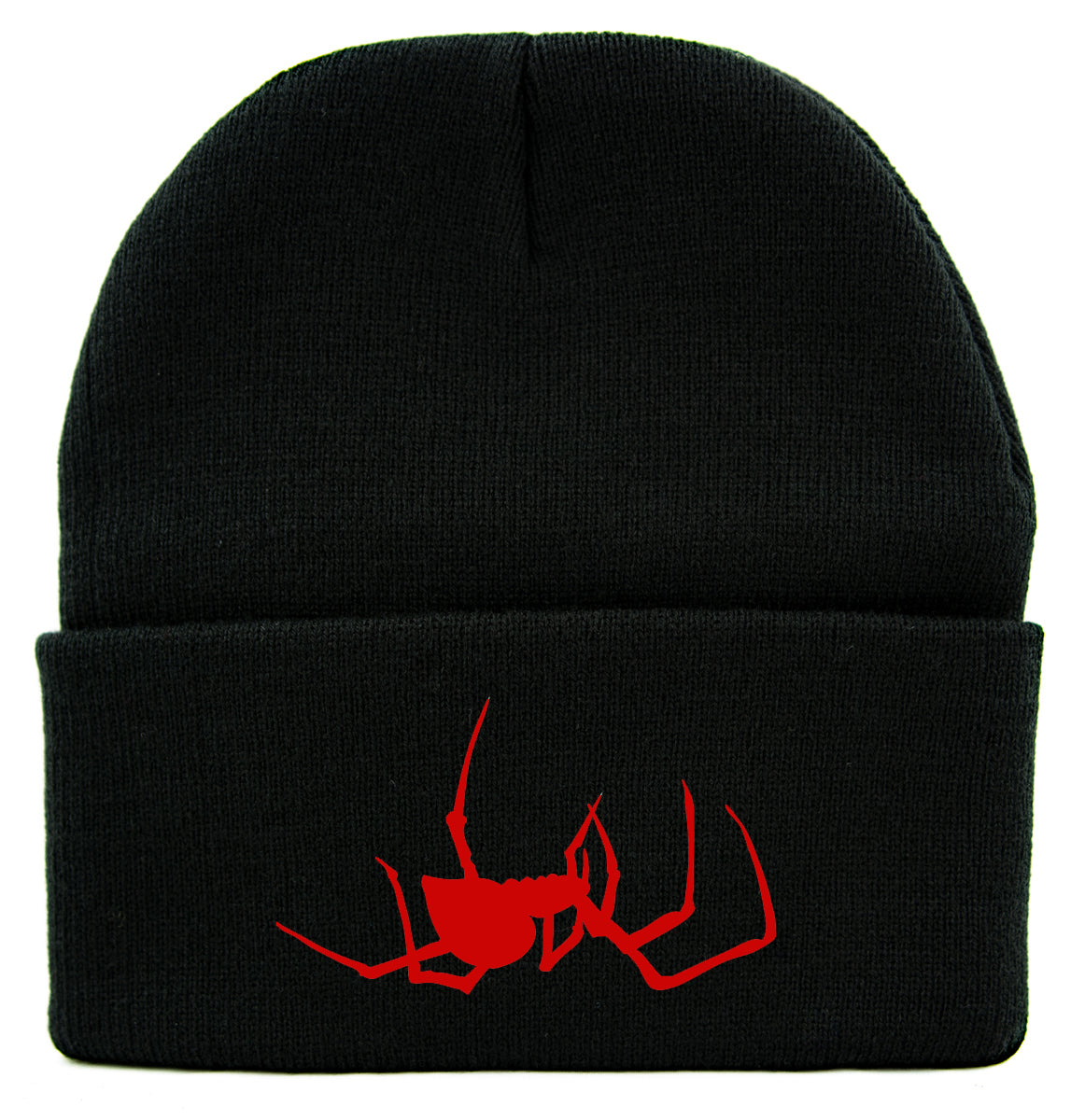 Red Spooky Crawling Black Widow Spider Cuff Beanie Knit Cap Gothic Alternative Clothing