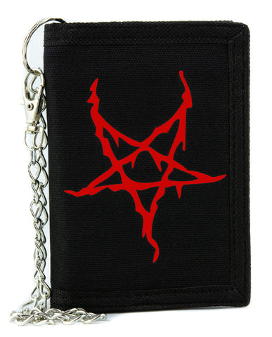 Red Black Metal Style Inverted Pentagram Tri-fold Wallet Unholy Evil Alternative Clothing