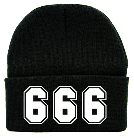 38a57777f50 666 Number of The Beast Cuff Beanie Knit Cap Evil Occult Alternative  Clothing