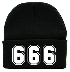 666 Number of The Beast Cuff Beanie Knit Cap Evil Occult Alternative Clothing