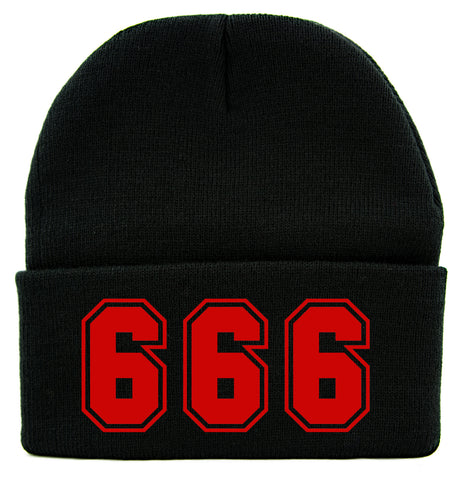 Red 666 Number of The Beast Cuff Beanie Knit Cap Evil Occult Alternative Clothing