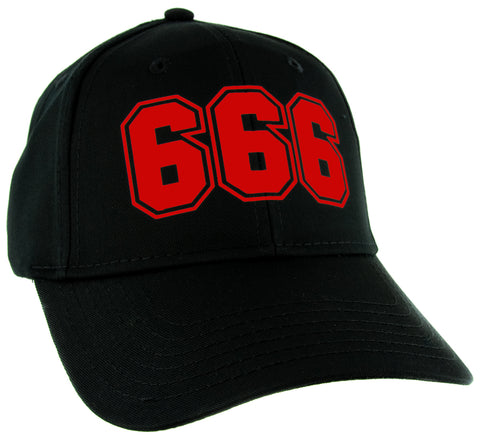 Red 666 Number of the Beast Hat Baseball Cap Occult Metal Alternative Clothing Snapback
