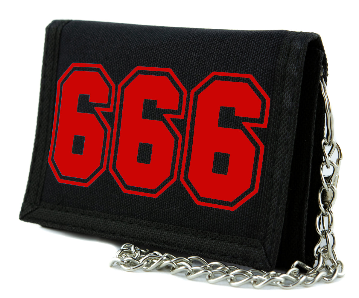 Red 666 Number of the Beast Tri-fold Wallet Heavy Metal Alternative Clothing