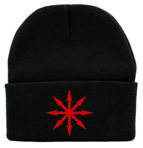 Red Chaos Star Symbol of Eight Cuff Beanie Knit Cap Warhammer Gothic Occult Alternative Clothing