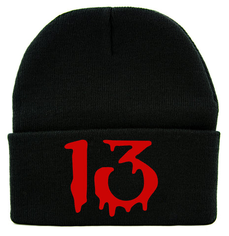 Red Number Thirteen Lucky 13 Cuff Beanie Knit Cap Blood Drip Gothic Alternative Clothing