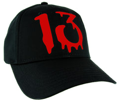 Red Number Thirteen Lucky 13 Hat Baseball Cap Blood Drip Occult Alternative Clothing Snapback
