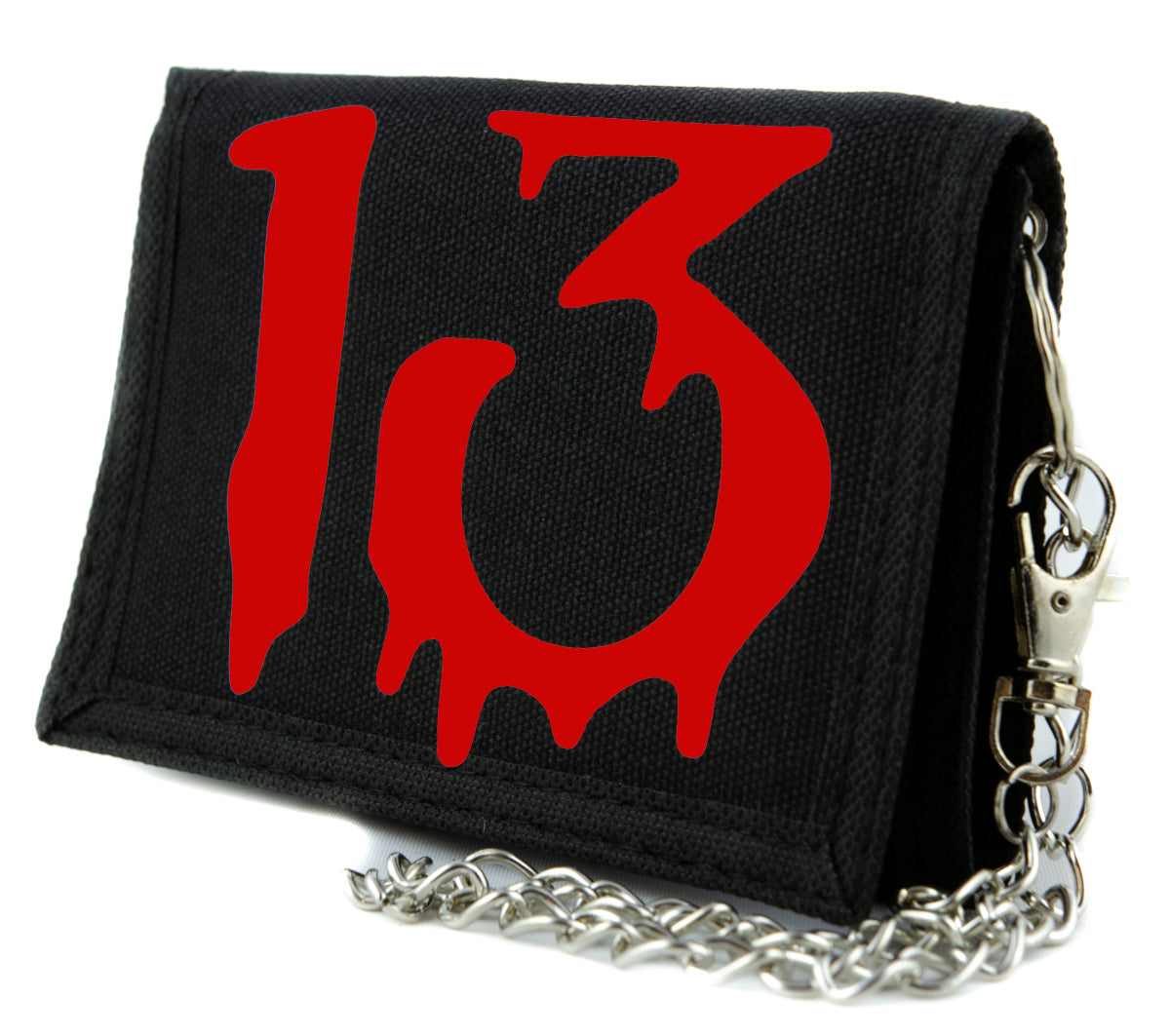 Red Number Thirteen Lucky 13 Tri-fold Wallet Gothic Blood Drip Style Alternative Clothing
