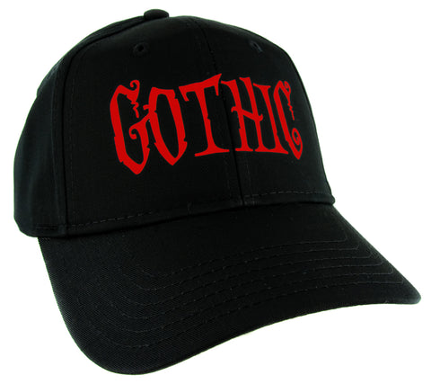 "Red ""Gothic"" Horror Hat Baseball Cap Dark Halloween Occult Alternative Clothing Snapback"