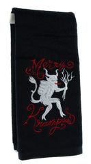 Merry Krampus Hand Towel Kitchen and Bath Evil Santa Gothic Home Decor