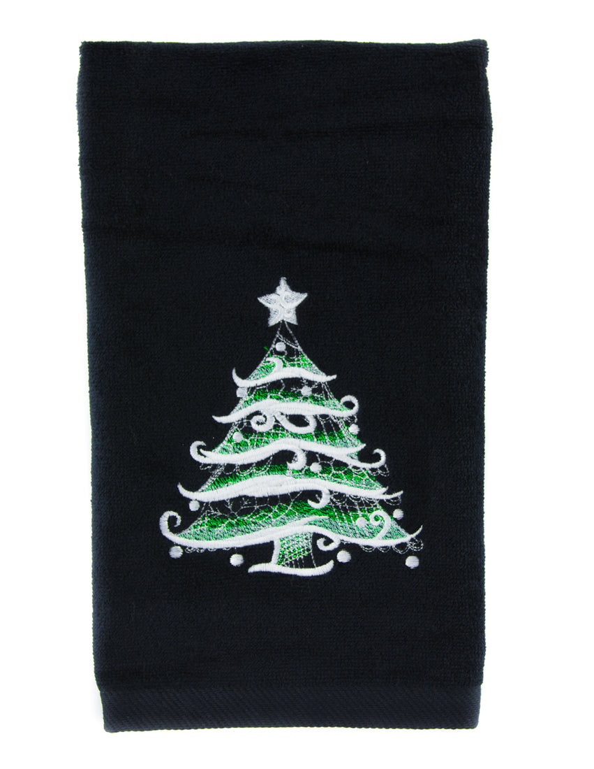 Holiday Christmas Tree Hand Towel Kitchen and Bath Baroque Gothic Home Decor