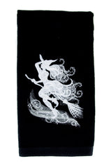 Wicked Witch on Broom Stick Halloween Hand Towel Kitchen and Bath Gothic Home Decor