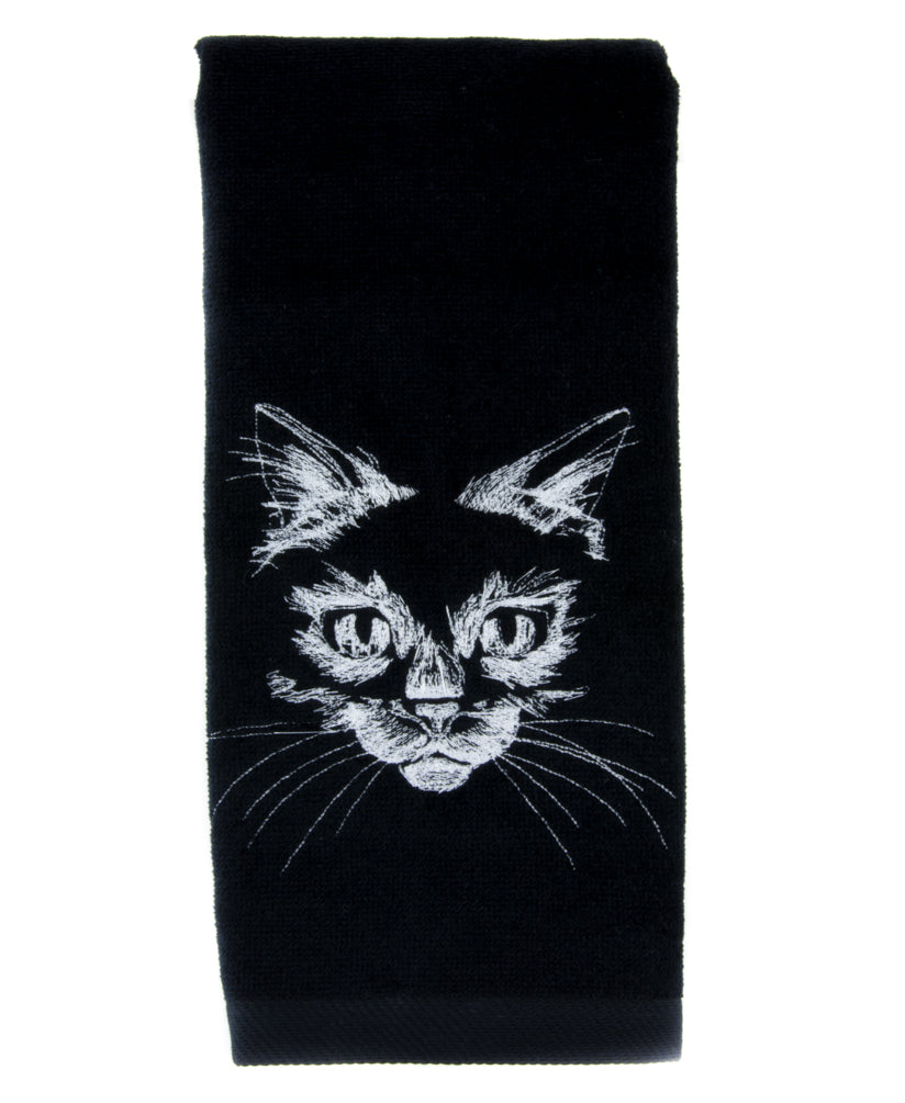 Black Kitty Cat Hand Towel Embroidered Kitchen and Bath Gothic Home Decor