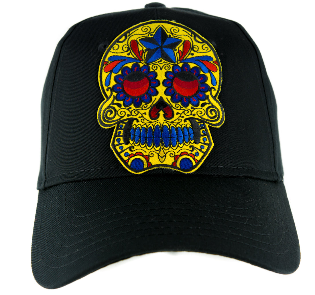Day of the Dead Yellow Sugar Skull Hat Baseball Cap Horror Clothing Halloween