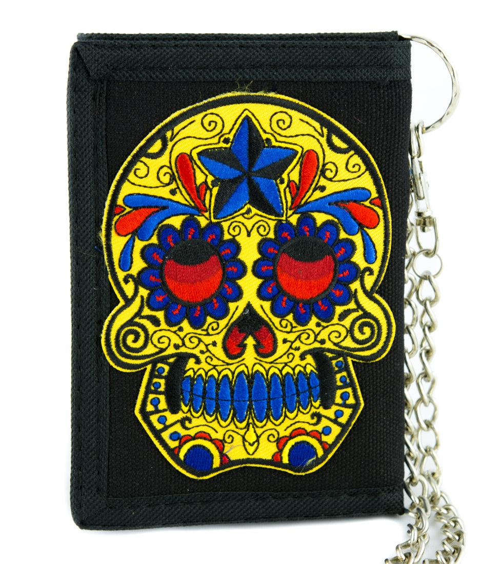 day of the dead yellow sugar skull tri fold wallet dark halloween dia de los