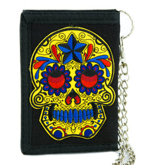 Day of the Dead Yellow Sugar Skull Tri-fold Wallet Dark Halloween Dia De Los Muertos