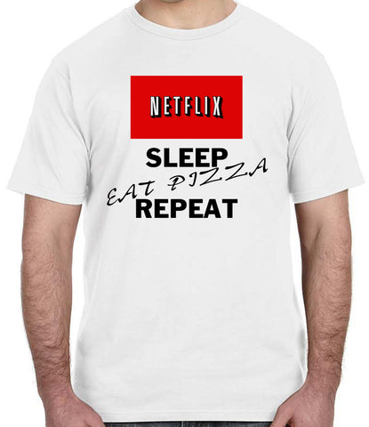 Netflix Sleep Eat Pizza Repeat T-Shirt Relax Chill Meme Style Gift Clothing