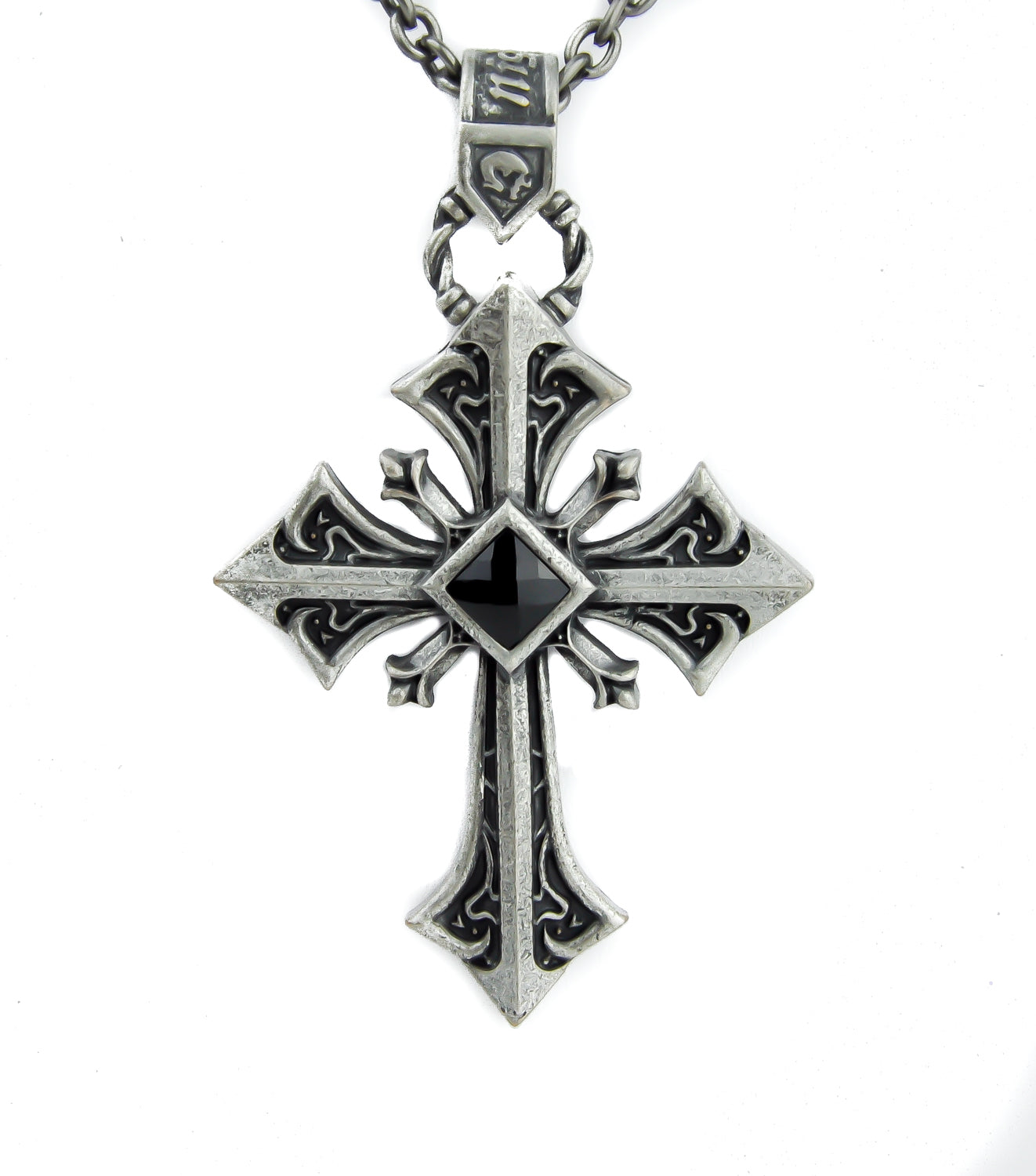 Antique Silver Color Holy Cross with Black Stone Necklace Alternative Jewelry