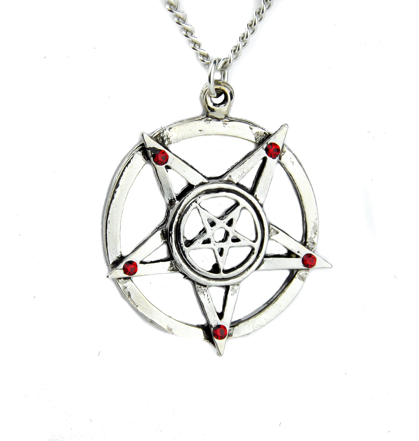 Ritual Inverted Pentagram Necklace with Red Stones Alternative Occult Jewelry
