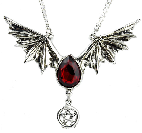 Vampire Bat Wing Necklace Red Stone Tear Drop Alternative Jewelry