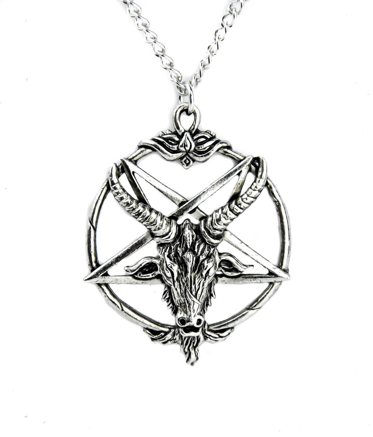 Classic Baphomet Inverted Pentagram Necklace Alternative Occult Jewelry