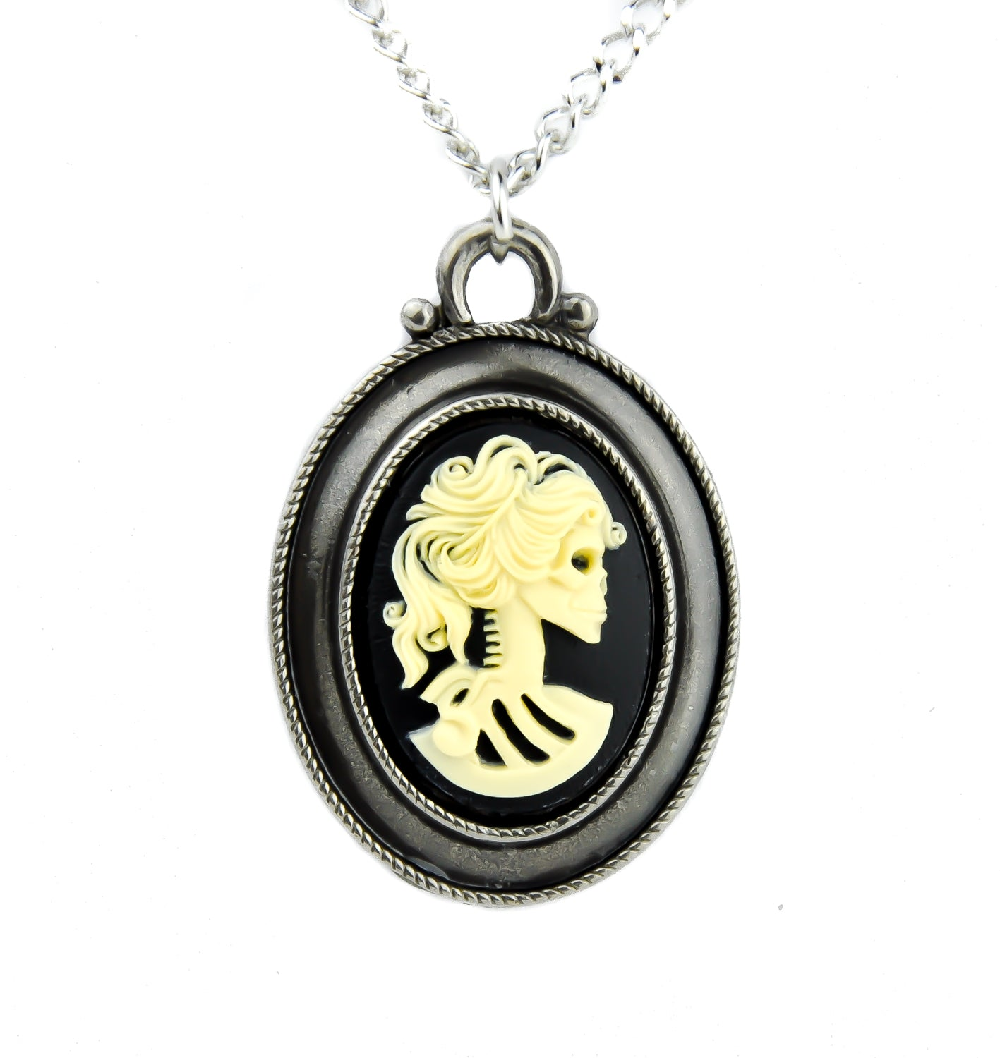 Antique Silver Color Skeleton Cameo Necklace Victorian Dead Girl Halloween Jewelry
