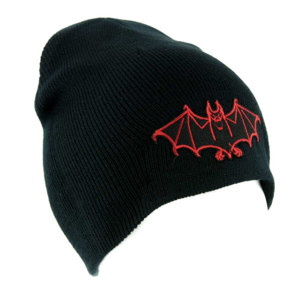 Red Vampire Bat Beanie Knit Cap Dark Goth Alternative Clothing Dracula Nosferatu
