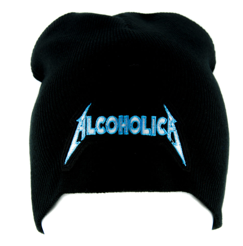 Alcoholica Metallica Spoof Beanie Alternative Clothing Knit Cap Heavy Metal Music