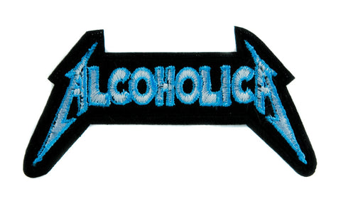 Alcoholica Metallica Spoof Patch Iron on Applique Alternative Clothing Heavy Metal Music
