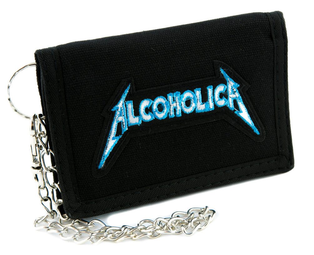 Alcoholica Metallica Spoof Tri-fold Wallet Alternative Clothing Heavy Metal Music