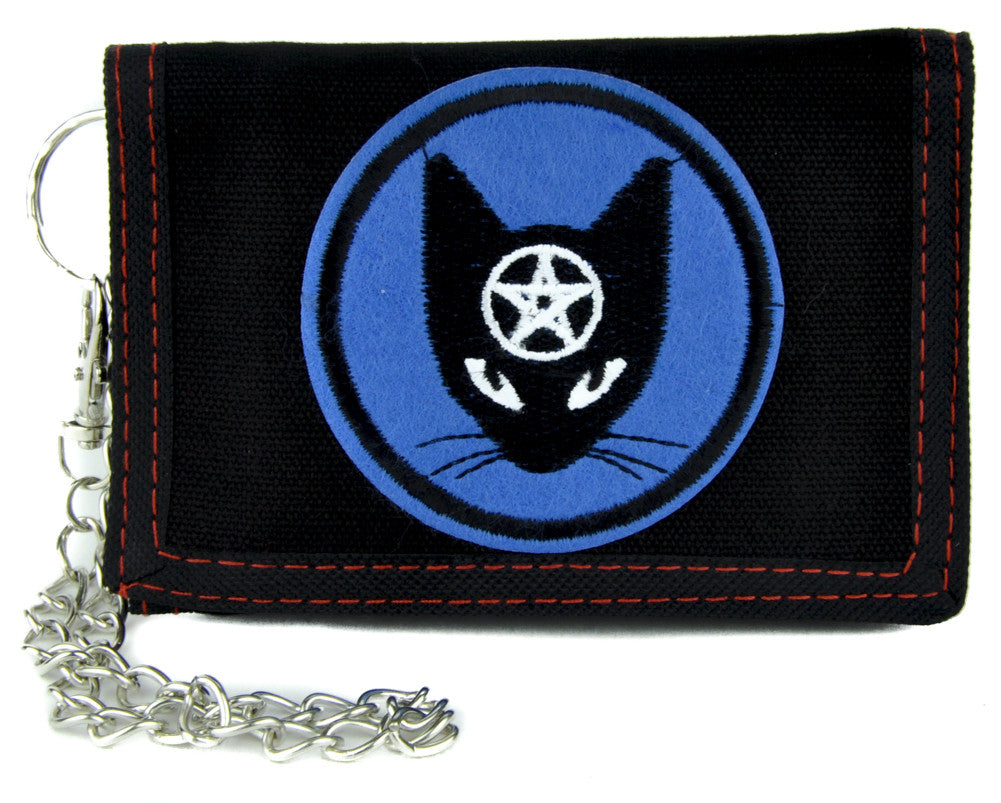 Black Cat Pentagram Tri-fold Wallet with Chain Alternative Clothing