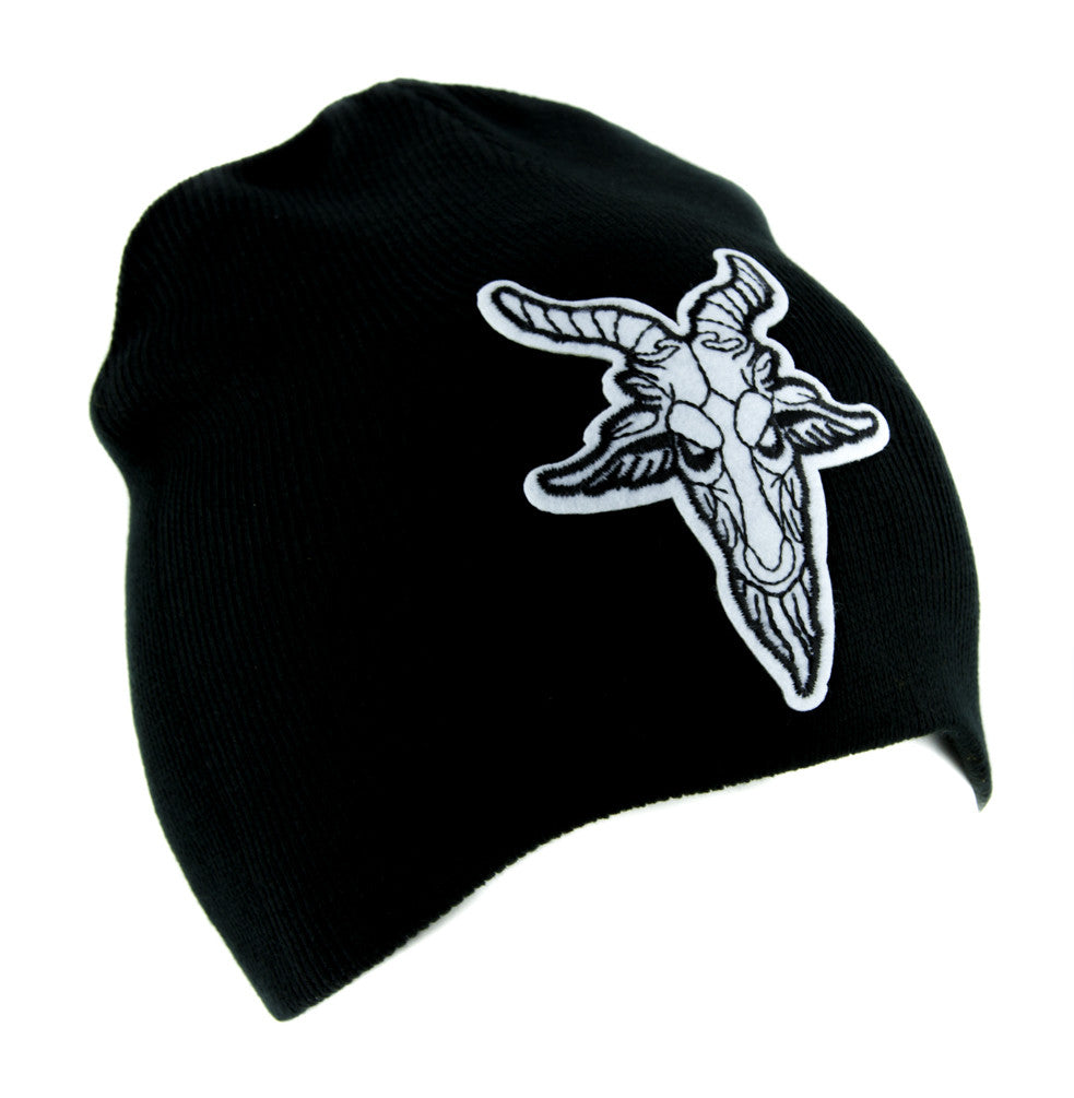 Sabbatic Goat Head Beanie Alternative Clothing Knit Cap Satanic Baphomet