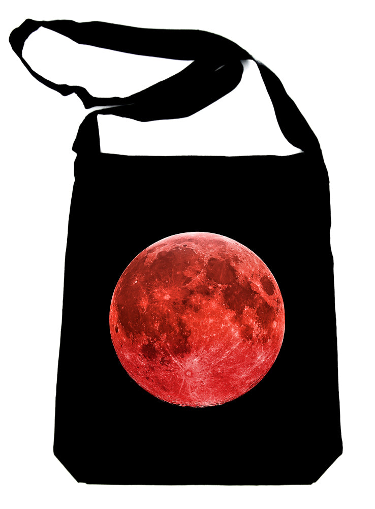 Blood Red Full Moon Sling Bag Tote Alternative Clothing Book Bag