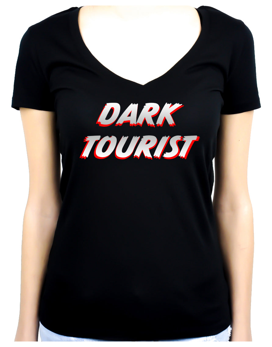 Dark Tourist Women's V-Neck Shirt Top Black Death Grief Tourism Alternative Clothing Thanatourism