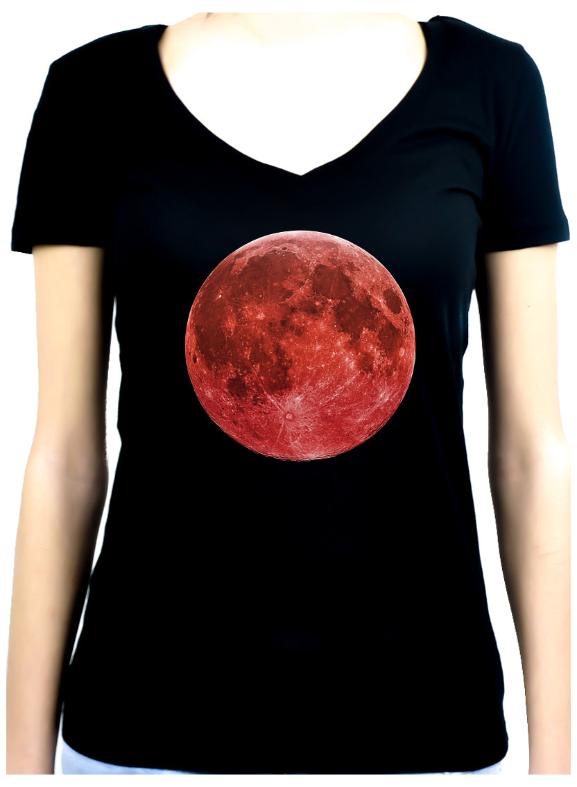 Blood Red Full Moon Women's V-Neck Shirt Top Alternative Clothing Astrology