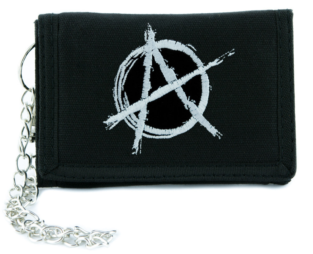 White Anarchy Sign Tri-fold Wallet Alternative Clothing Punk Rock Revolution