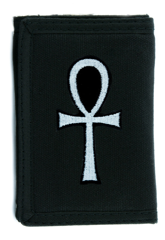 White Ankh Egyptian Hieroglyph Tri-fold Wallet Goth Clothing Eternal Life Occult Symbol