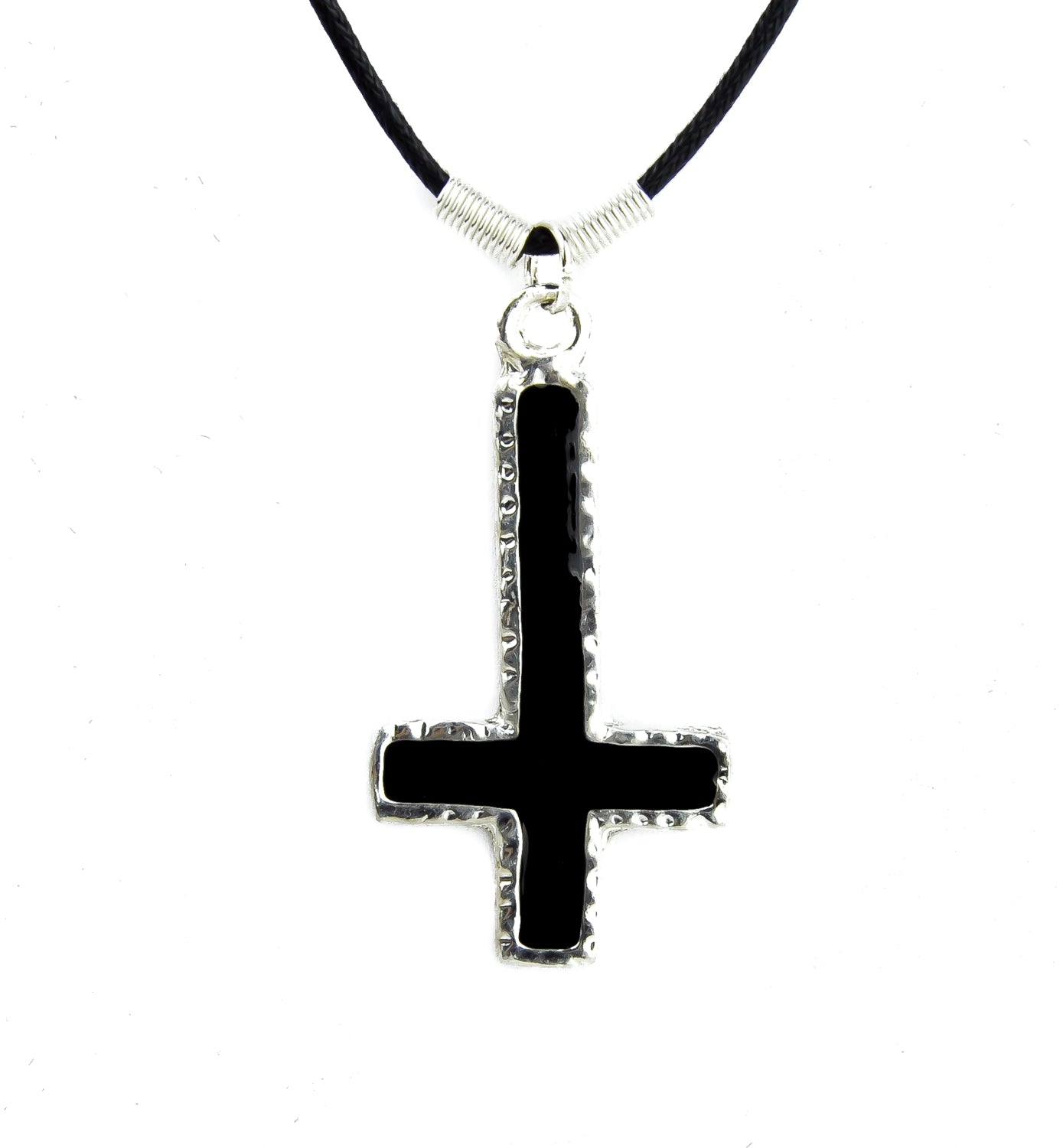 Inverted Cross Necklace Dented with Black Inlay Alternative Occult Jewelry