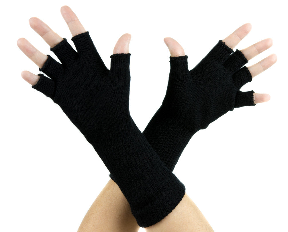 Toe Pincher Voodoo Coffin with Cross Black Fingerless Gloves Alternative Clothing