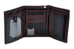 Iron Cross Black Canvas Trifold Wallet w/ Red Stitching Rock Military German