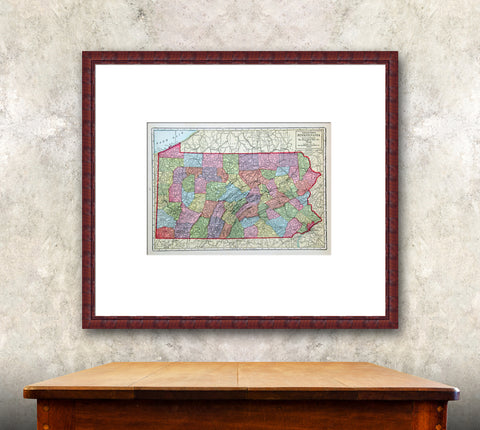 Antique Pennsylvania state map of 1914 with mat and frame