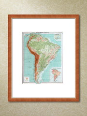 Framed vintage 1917 map of South America
