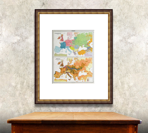 Framed vintage map of world culture