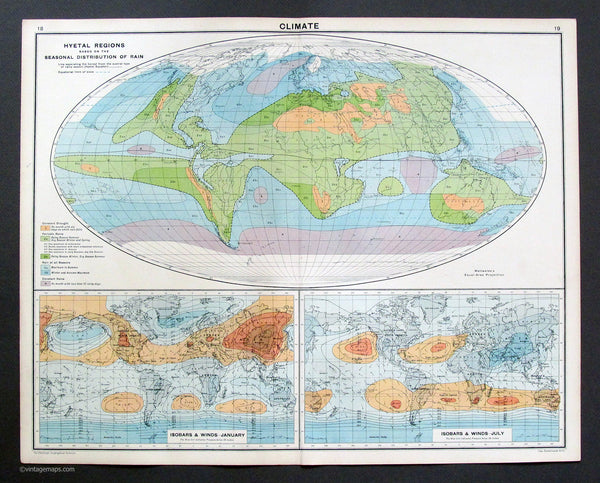Climate Vintage Maps - Climate map of the world