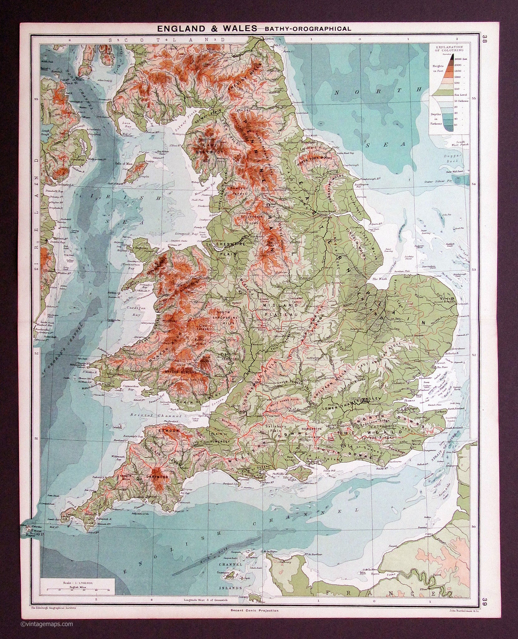 Map Of England And Wales.England And Wales 1917 Vintage Maps