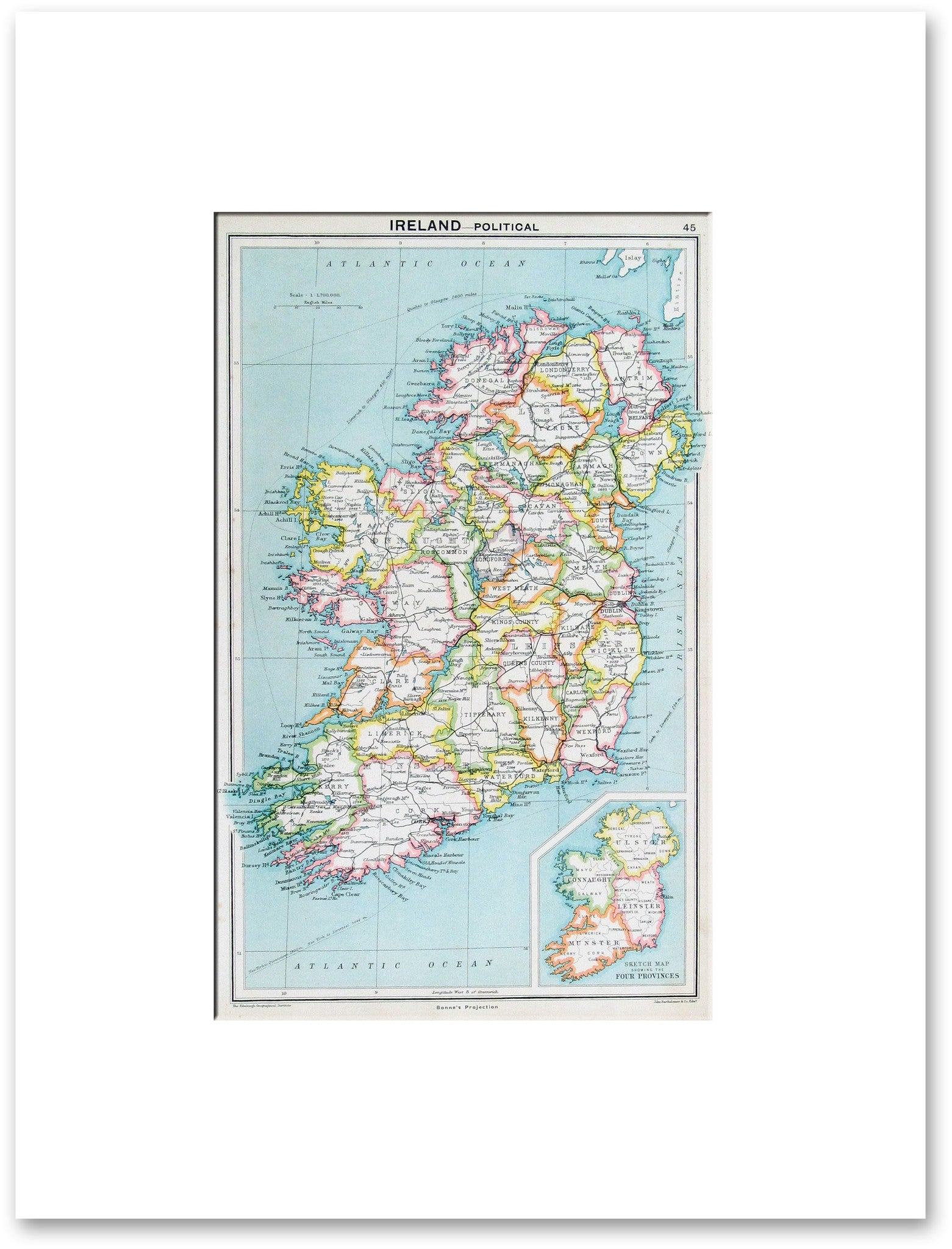Map Of Ireland Lakes.Ireland Political 1917