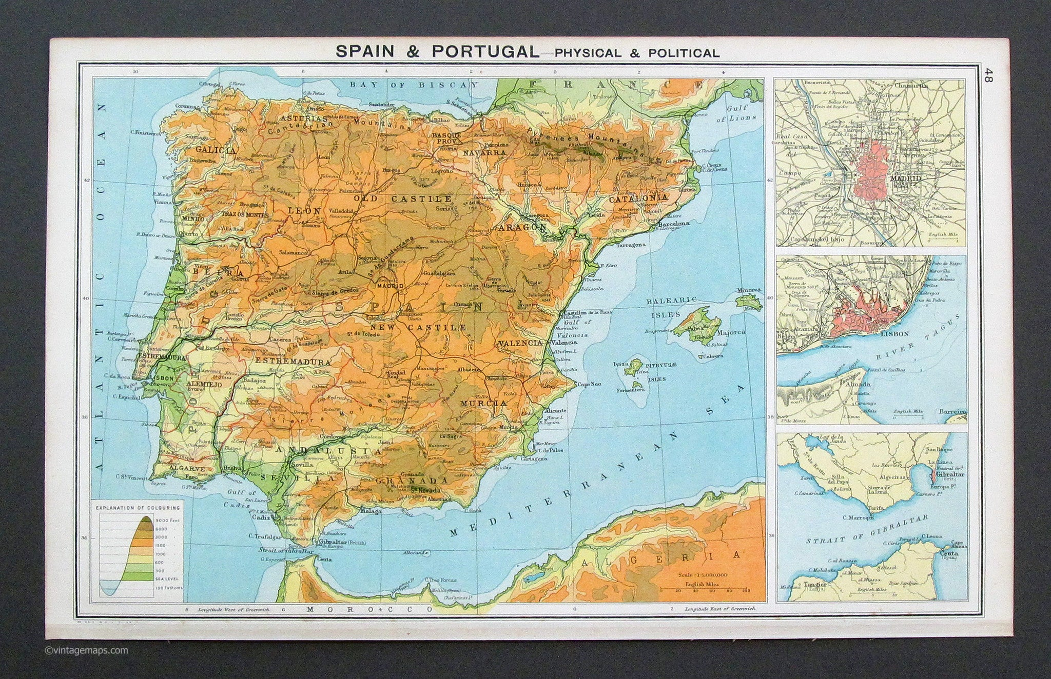 Frameable World Map.Spain And Portugal 1917 Vintage Maps