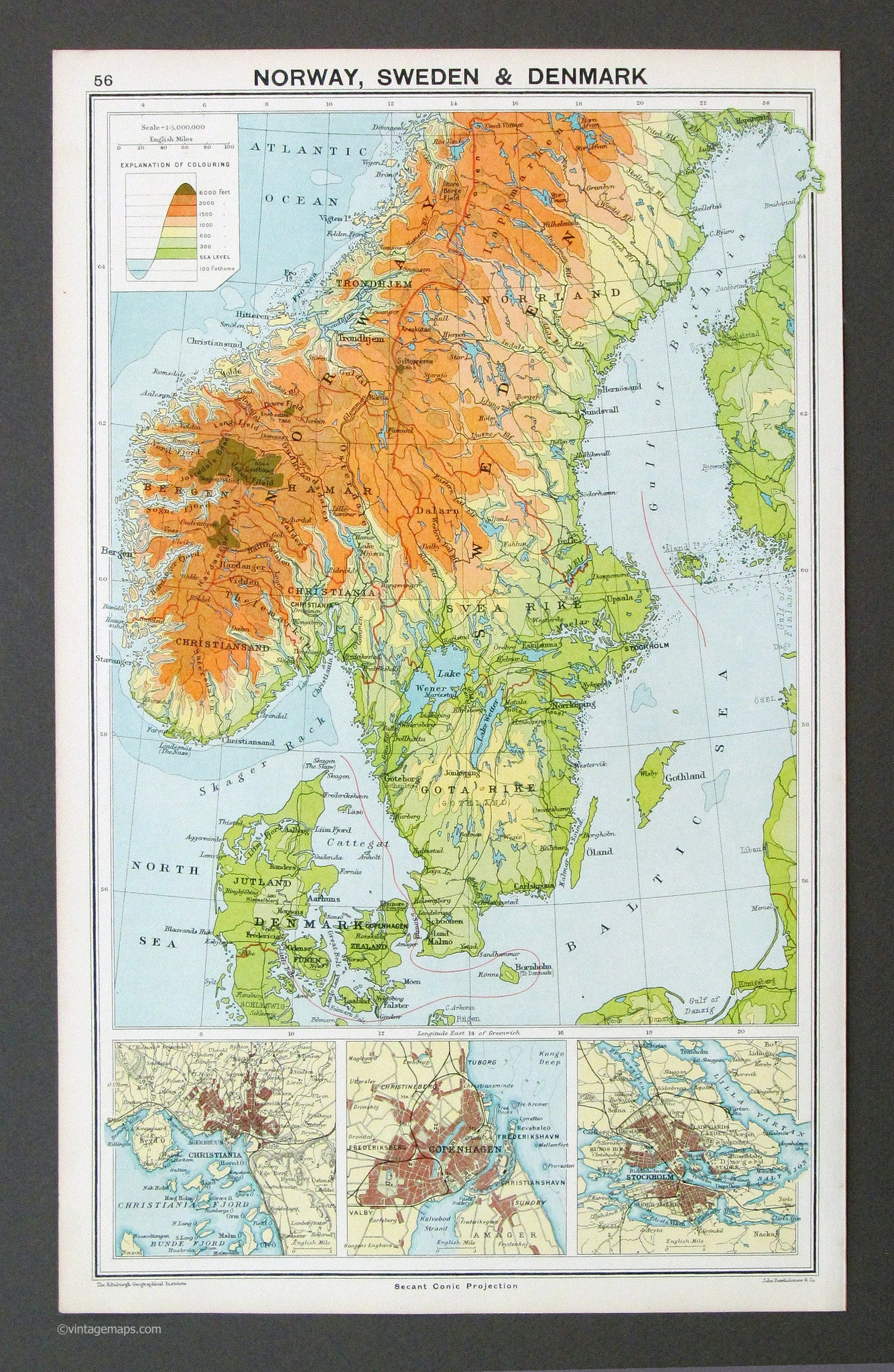 Denmark Topographic Map.Norway Sweden Denmark 1917 Vintage Maps