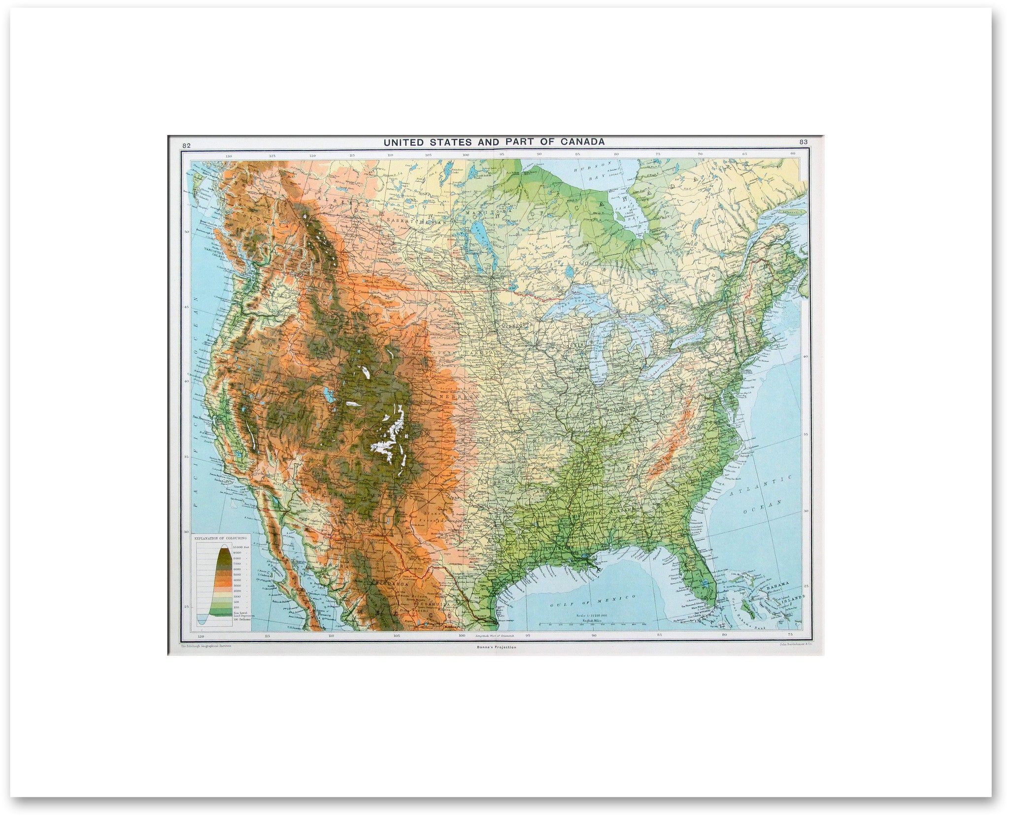 Countries North America Vintage Maps - Map of us topography