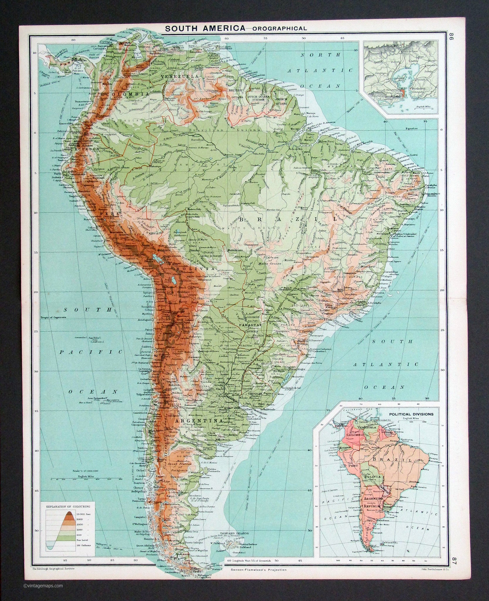 South America 1917 - Vintage Maps on