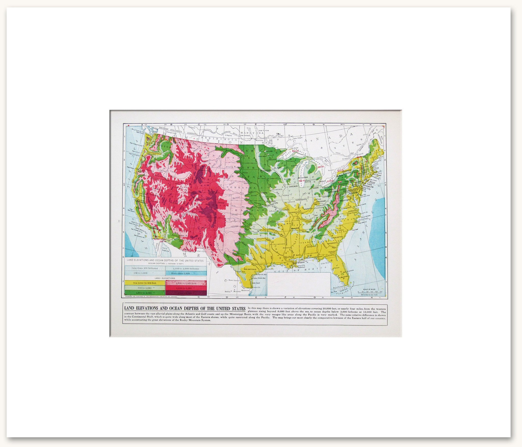 Countries North America Vintage Maps - Us photo map mat